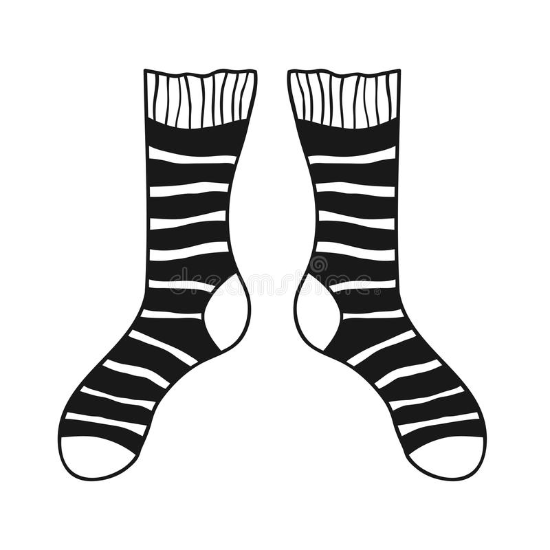 Pair of doodle socks on white background. Clothing, accessory. Vector illustration stock illustration