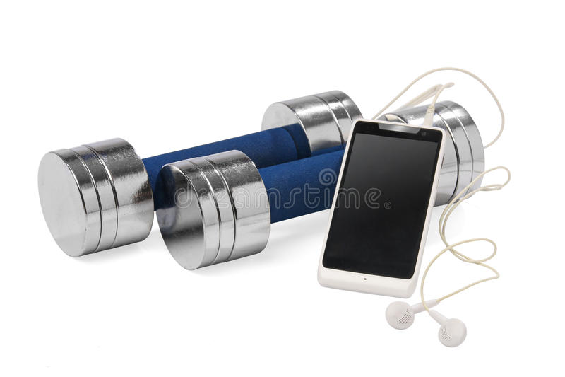 A pair of dumbbells and a smartphone royalty free stock image