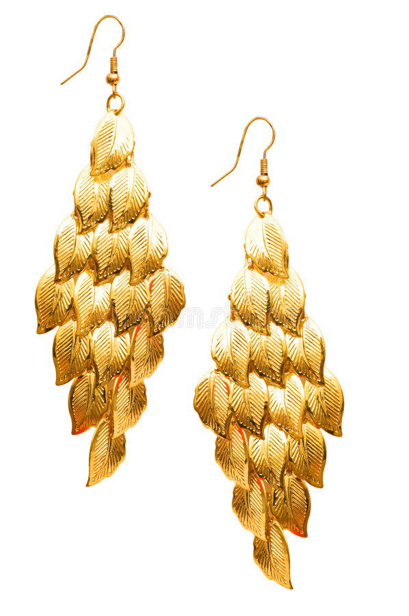 Download Pair of earrings isolated stock photo. Image of leaf, decoration - 8054058