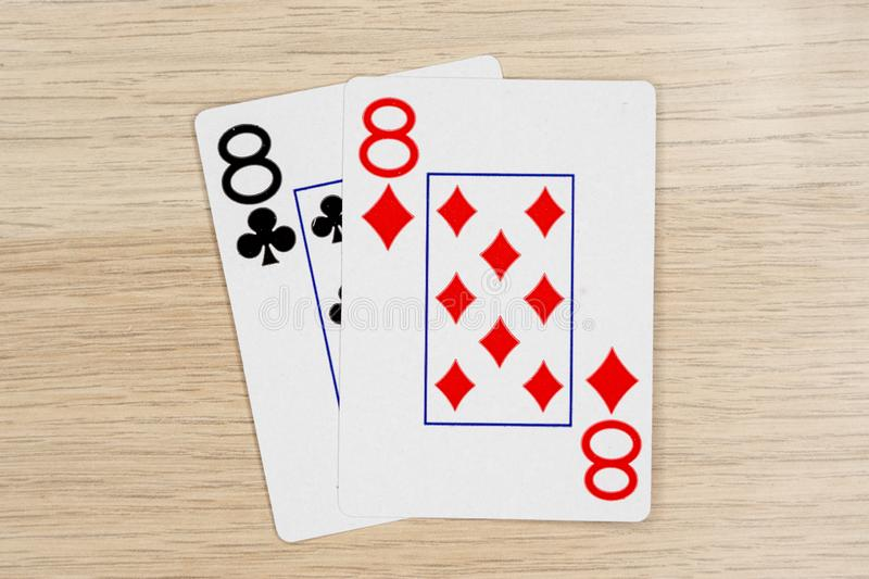 Pair of eights 8 - casino playing poker cards stock photo