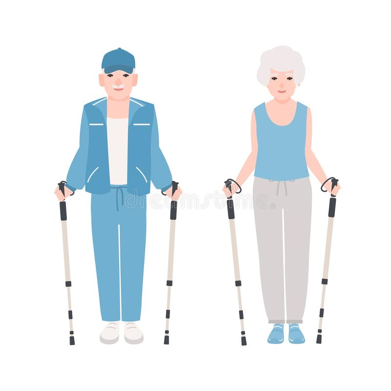 Pair of elderly men and women dressed in sports clothes performing nordic walking. Healthy outdoor activity for old stock illustration