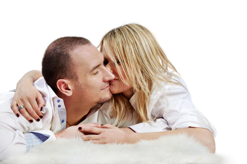 Pair Embraces And Rubs Their Noses Stock Photography
