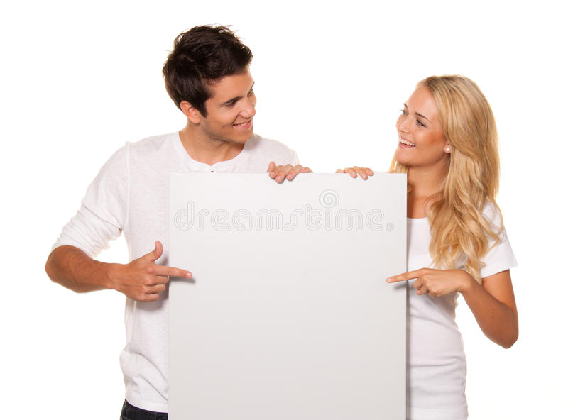 Download Pair With An Empty Poster To Advertise The Opening Stock Image - Image: 18016715