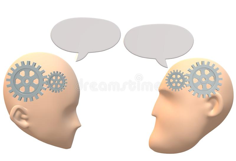 A pair of faceless heads faces talking and having a dialogue with each other. A computer generated illustration image of a pair of faceless heads faces talking stock illustration