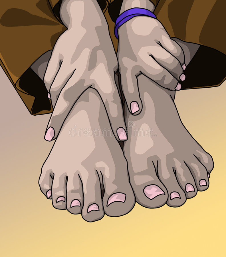 Pair of feet and hands royalty free stock photos