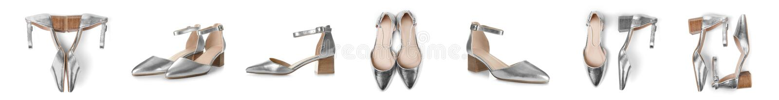 Pair of female shoes stock photography