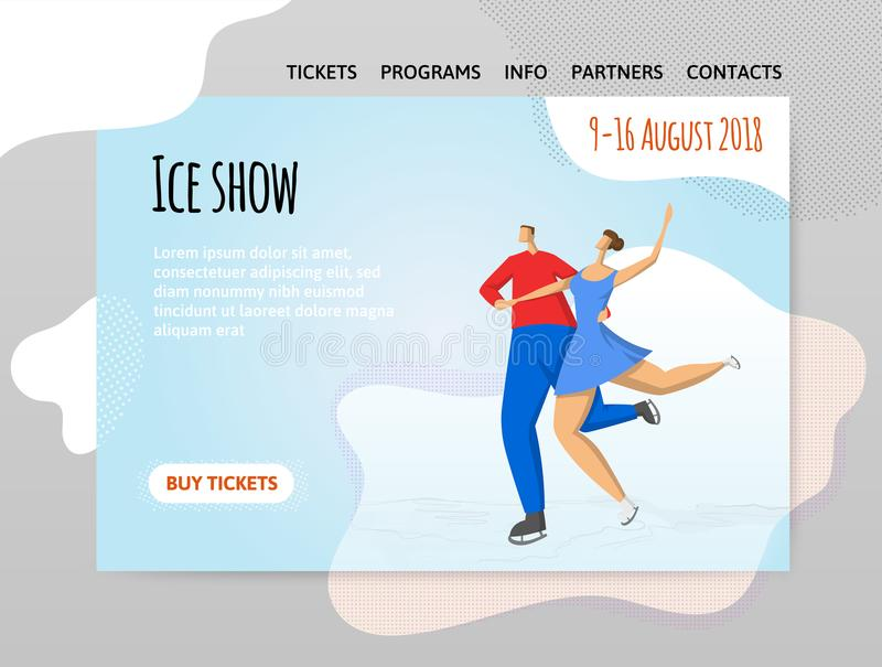 Pair figure skating, ice dancing. Man and woman. Vector illutration in abstract flat style, design template of sport royalty free illustration