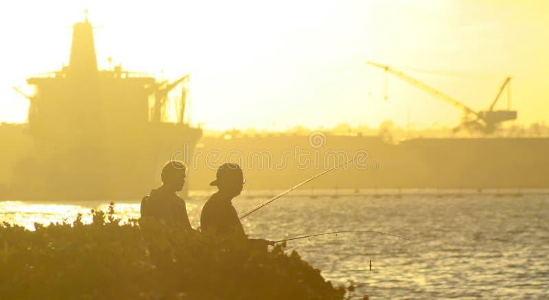 A Pair Fish at Sunset, Naval Base Coronado, San Diego stock photography