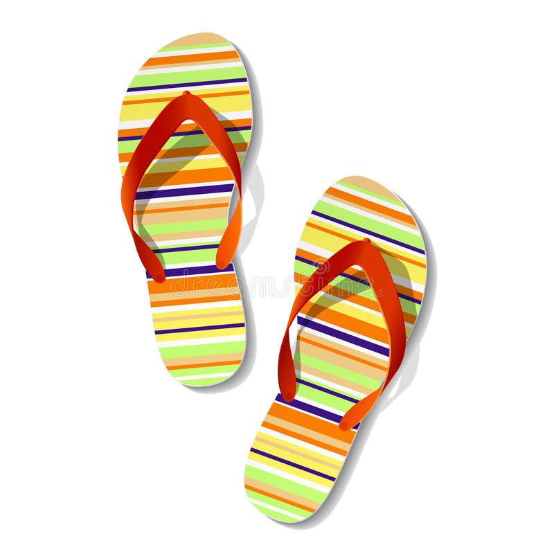 Download Pair of flip flops stock vector. Image of striped, rubber - 14613984