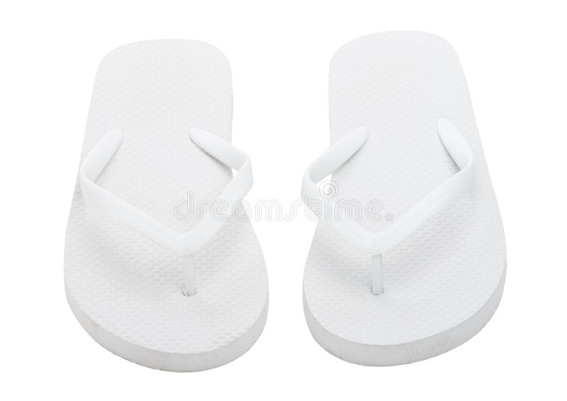 Pair of flip flops. Over white background stock photos