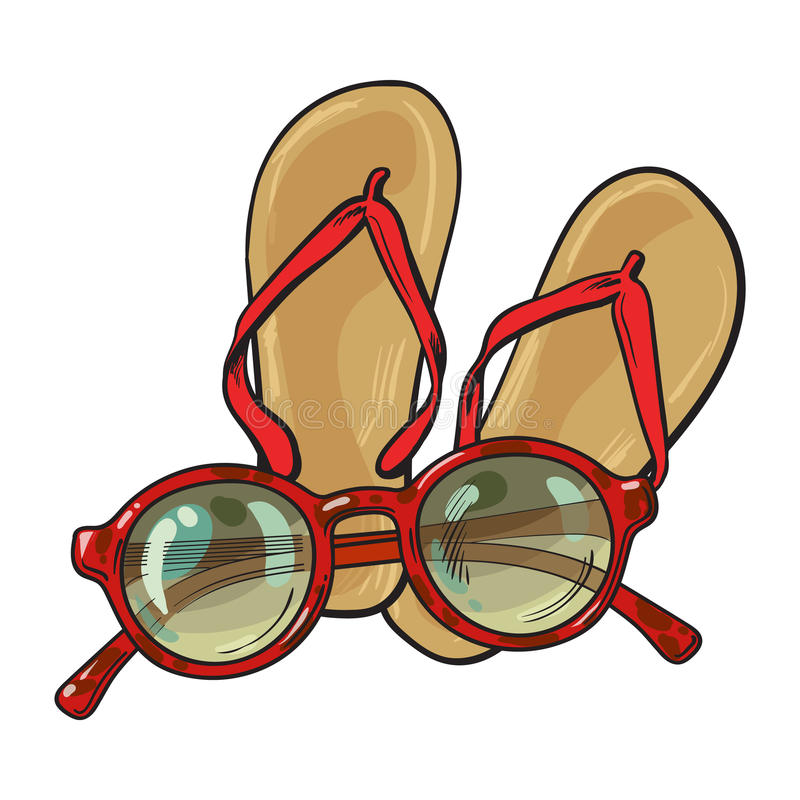 Pair of flip flops and fashionable round sunglasses, beach vacation vector illustration