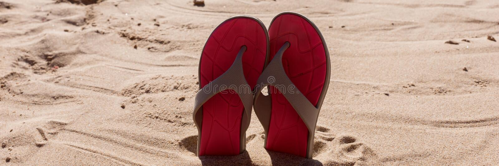 Pair flip flops in the sand of a beach royalty free stock images