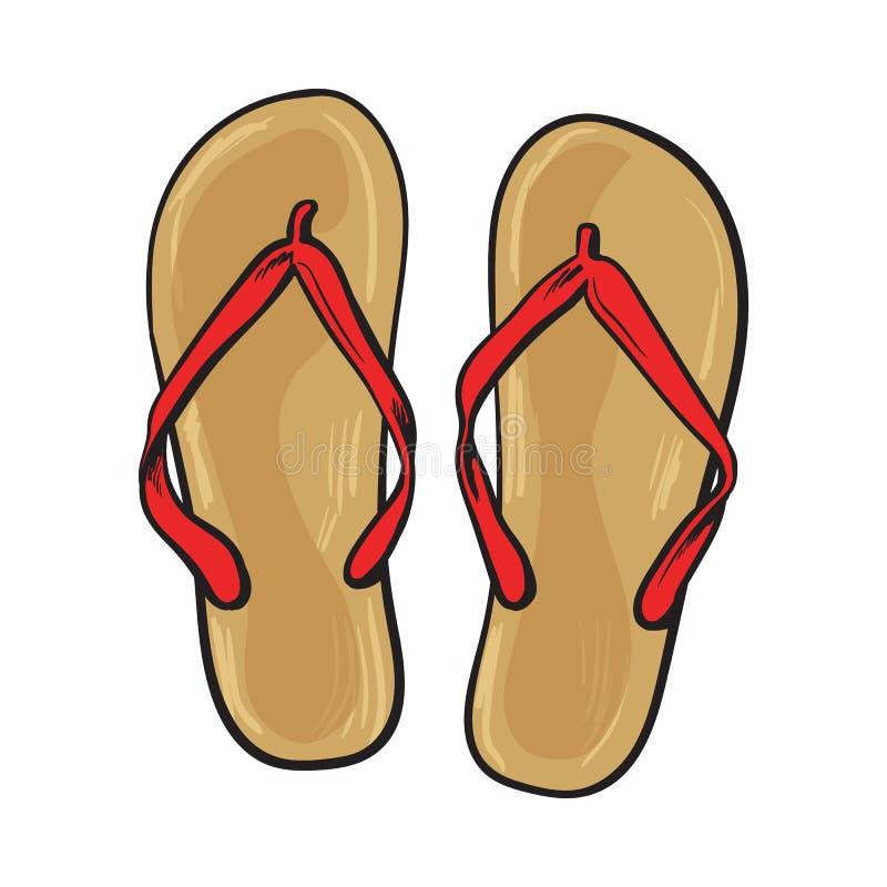 pair of flip flops summer time vacation attribute