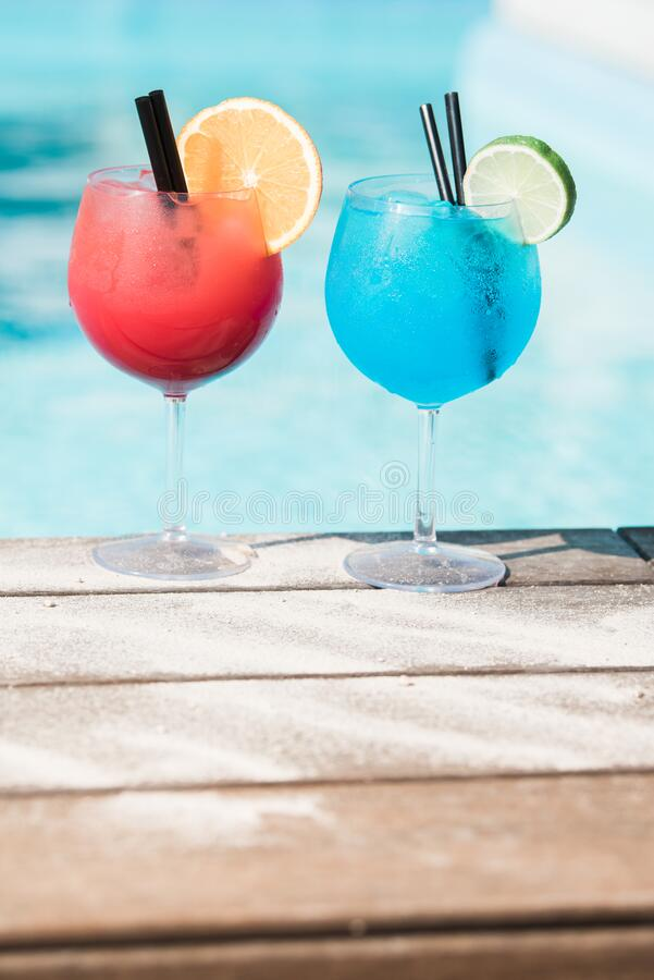 Fruity Summer Drinks By The Pool Side  stock images