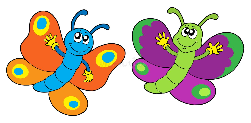 Pair of funny butterflies vector illustration