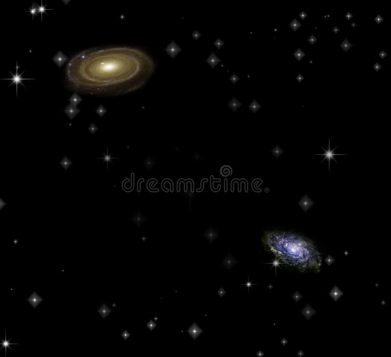 Pair of galaxies. Two galaxies. Some elements image credit NASA vector illustration