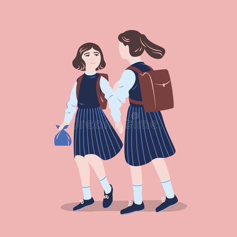 Pair of girls dressed in school uniform walking together. Female students, pupils or classmates wearing formal clothes. Talking to each other. Colorful vector vector illustration