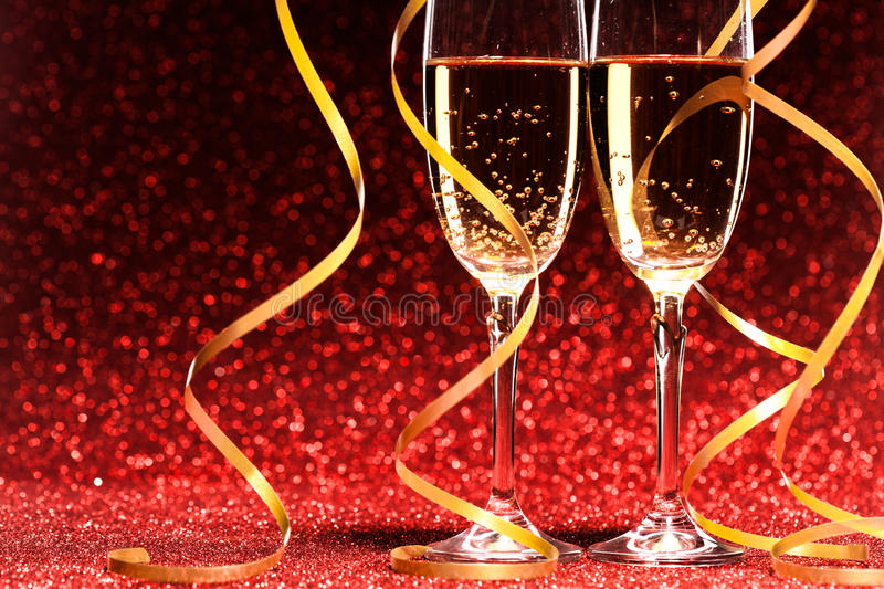 Pair glass of champagne stock photos
