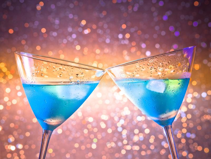 Download A Pair Of Glasses Of  Fresh Blue Cocktail With Ice Make Cheers Stock Image - Image of cold, cool: 35661983