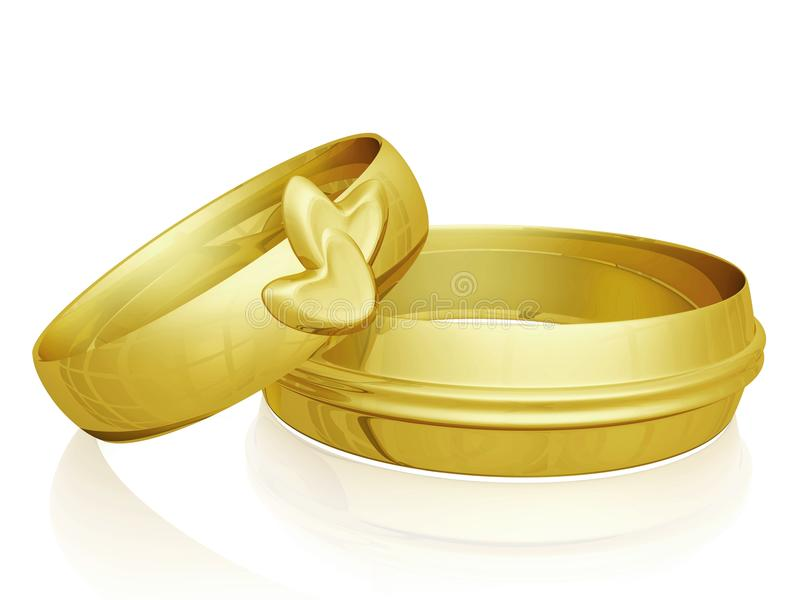 Pair Of Gold Wedding Rings With Hearts Design Stock Illustration