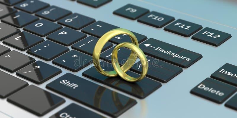 Pair of golden wedding rings isolated on computer laptop keyboard, 3d illustration stock illustration