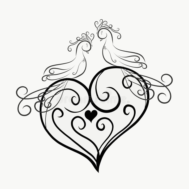 A pair of graceful birds on a patterned heart royalty free illustration