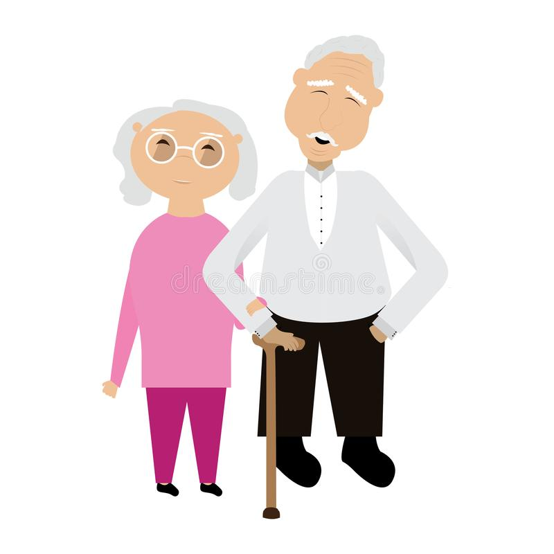 Pair of grandparents. Image. Vector illustration design royalty free illustration