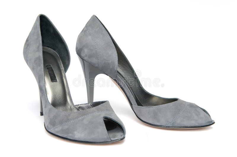 Pair of gray female shoes royalty free stock image
