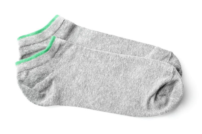 Pair of gray sport socks isolated on white stock photos