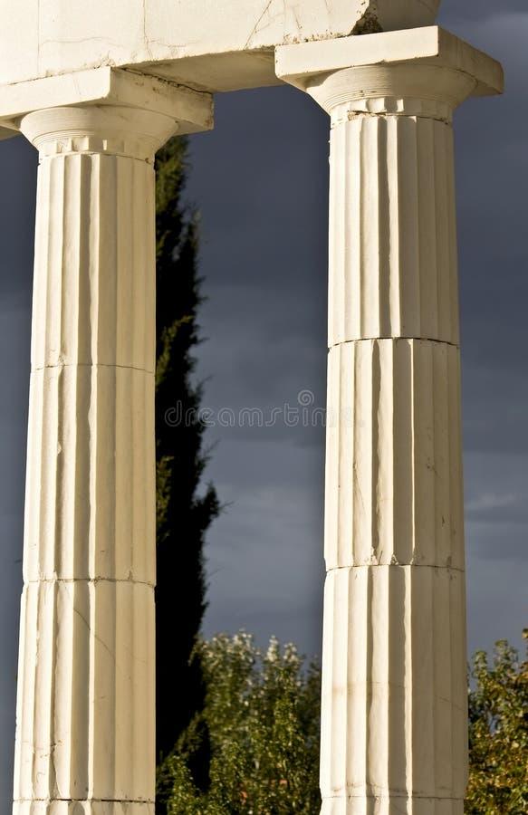 Pair of greek ancient pillars royalty free stock image