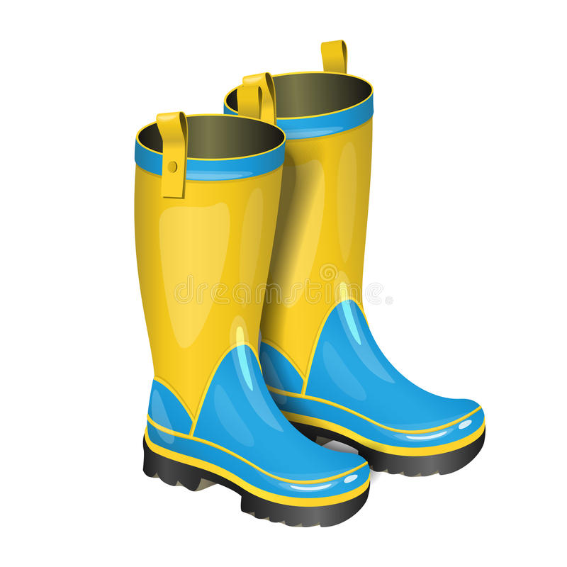 Pair of gumboots. Rain yellow and blue boots on white royalty free illustration