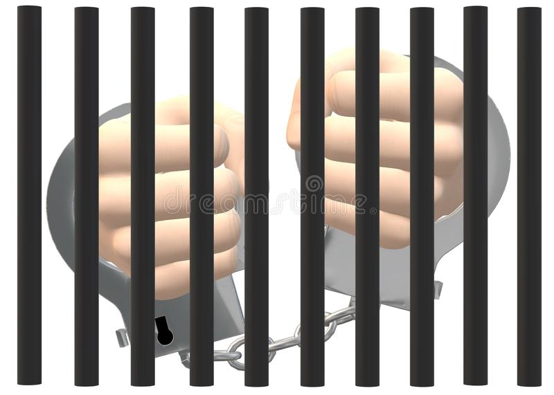 A pair of hands cuffed by handcuffs behind bars against a white backdrop stock photography