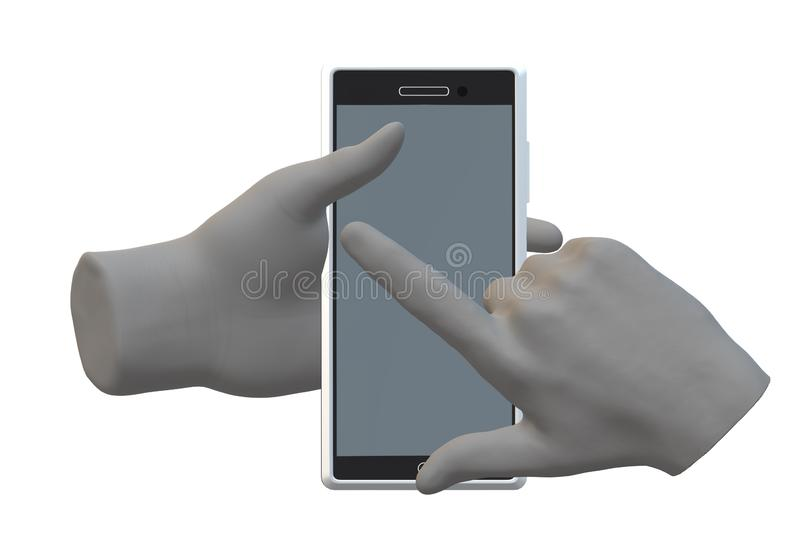 A pair of hands holding and working on a modern smartphone device vector illustration