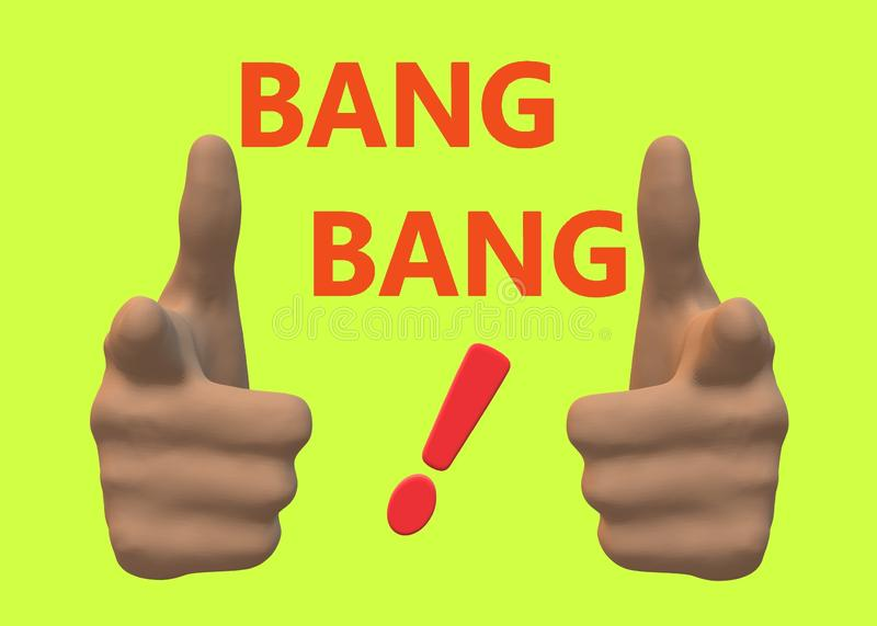 A pair of hands pointing at the viewer with the words bang and an exclamation mark in red vector illustration