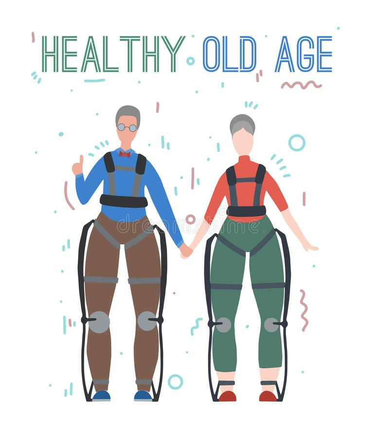 Pair of happy healthy old people in exosuits. Innovation in medicine. Elderly family. Exoskeleton for people with disabilities. stock illustration