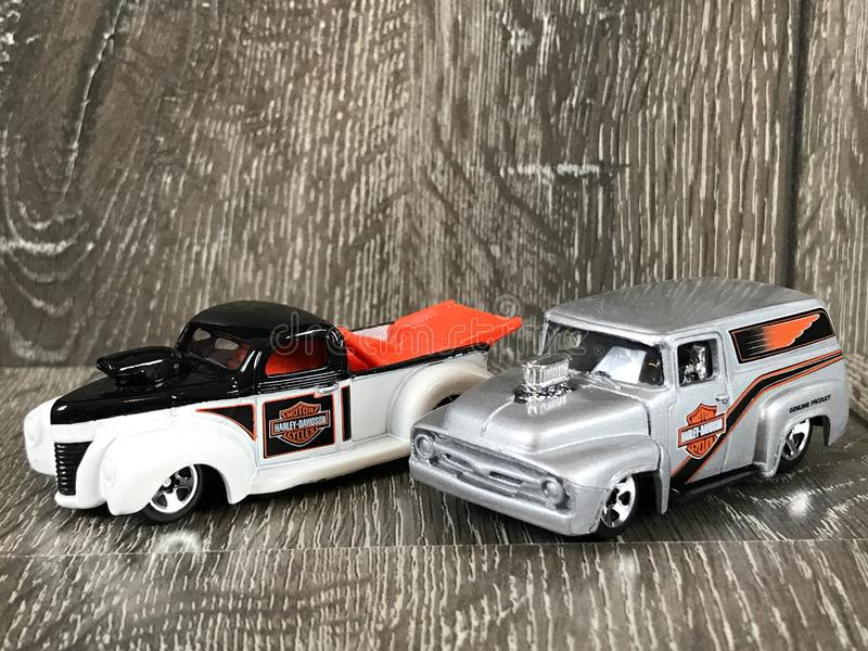Harley Davidson Die Cast Hotwheels toys. A pair of Harley Davidson Die cast Hotwheels toys royalty free stock photo