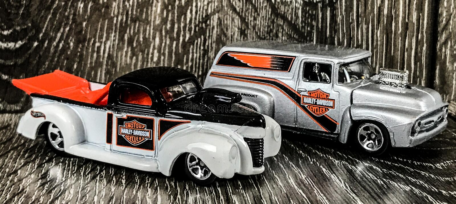 Harley Davidson Die Cast Hotwheels toys. A pair of Harley Davidson Die cast Hotwheels toys royalty free stock photography