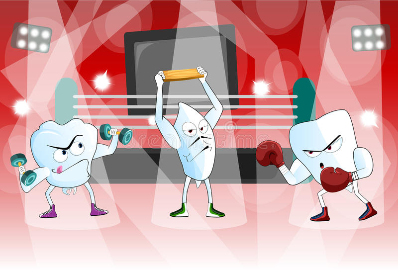A pair of healthy teeth in a boxing ring ready to stock illustration