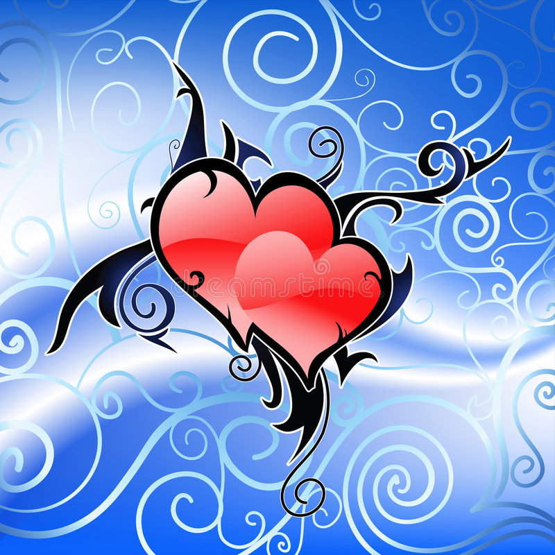 Pair of hearts in tribal art s royalty free illustration