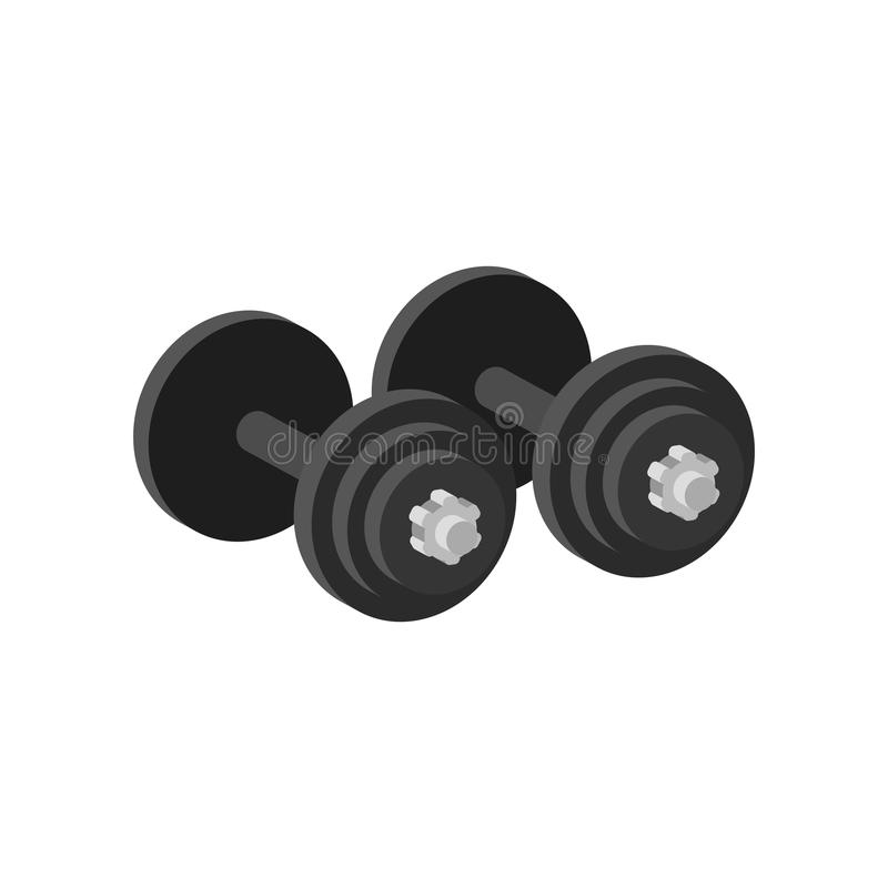 Pair of heavy dumbbells for exercise or muscle-building. Equipment for gym. Sport and healthy lifestyle theme. Flat royalty free illustration