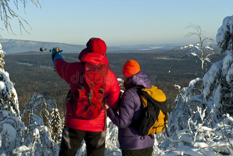 Winter trip together stock photos