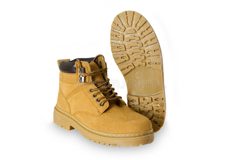 Pair of hiking boots. On white background royalty free stock images