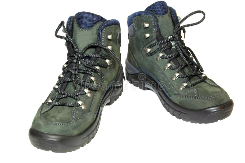 Pair of hiking boots isolated on white. Background royalty free stock photos