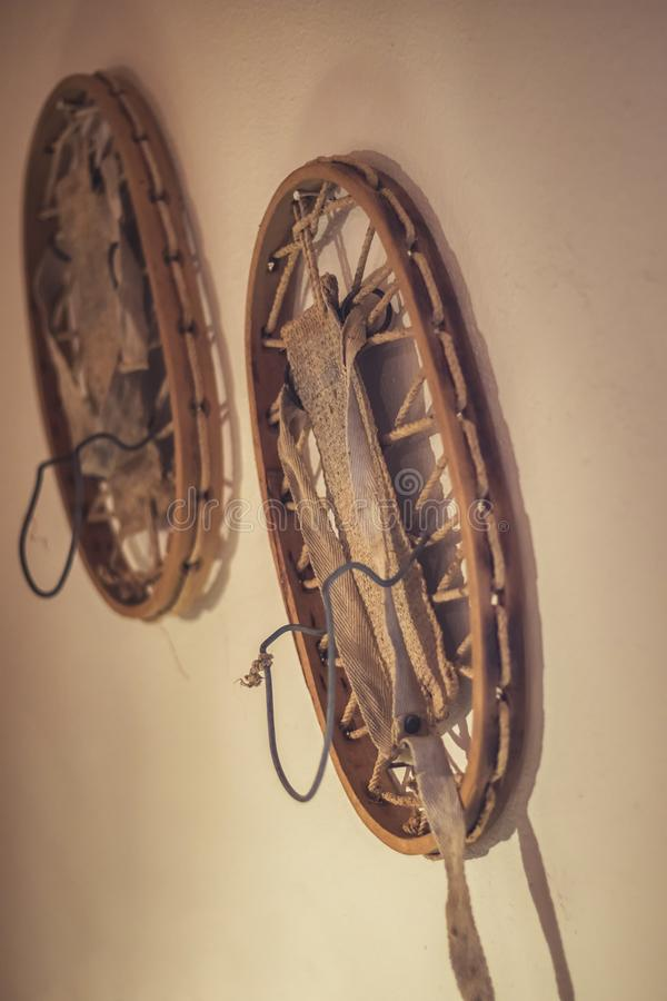 Historic snowshoes hanging on the wall stock photo