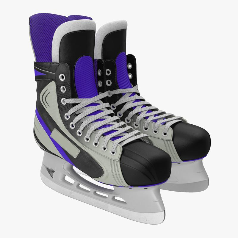 Pair of the Hockey ice skates for girls, isolated on a white. 3D illustration stock illustration