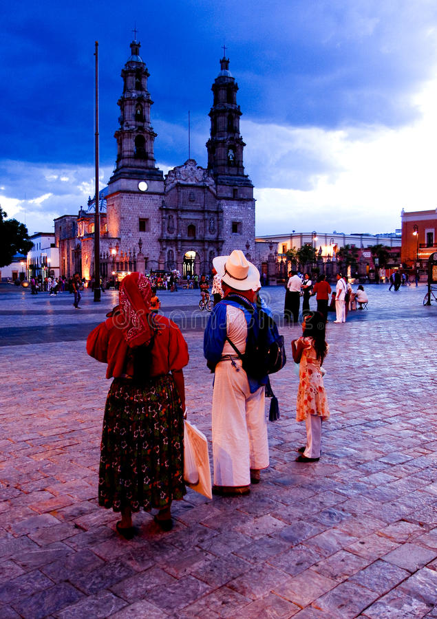 A pair of Huichol Indians. Look Aguascalientes Cathedral in Plaza de la Patria, in the center of the city of Aguascalientes, Mexico. This city in central stock images