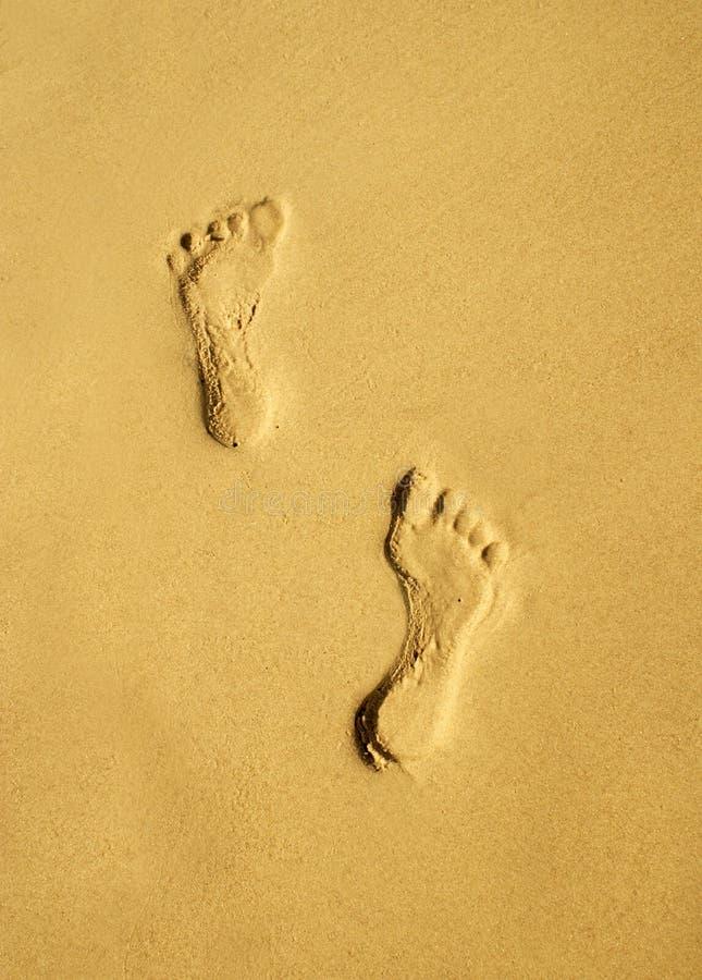 A pair of human footprints royalty free stock photos