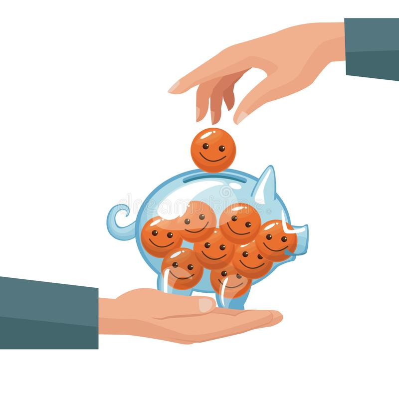 Pair human hands depositing coin in the form of happy face in a money piggy bank. Vector illustration stock illustration