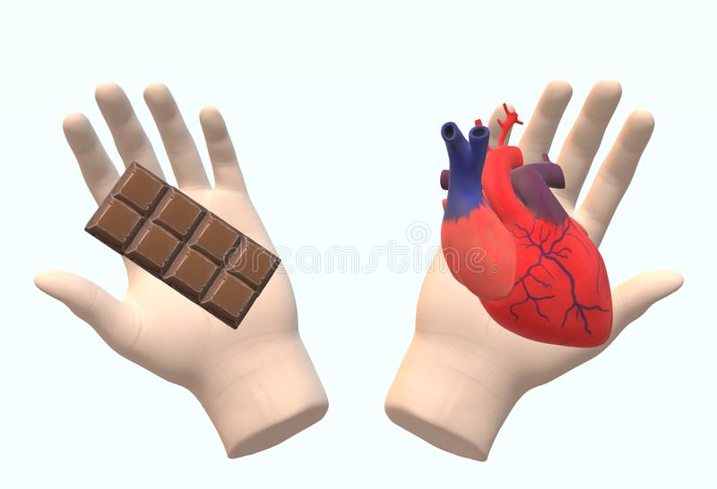 A pair of human hands holding a chocolate bar and a human heart royalty free stock photos