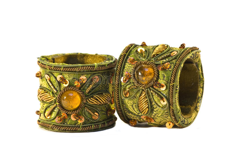 Pair of indian bracelets isolated stock photo